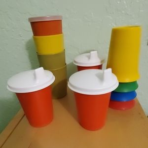 11 kids Tupperware cups & sippers.